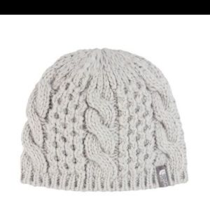 The North Face minna cable knit cream beanie hat